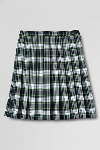 Lands' End  Plaid Pleated Skirt