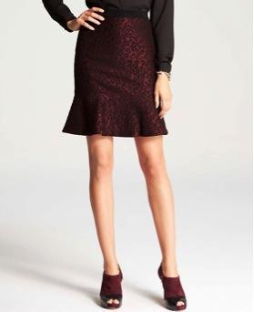 Ann Taylor  Leopard Jacquard Flounce Skirt