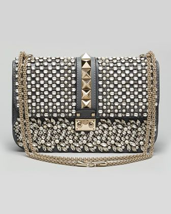 Valentino  Glam Lock Medium Crystal Shoulder Bag