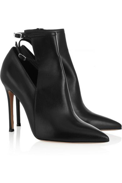 Gianvito Rossi  Pointed Leather Ankle Boots
