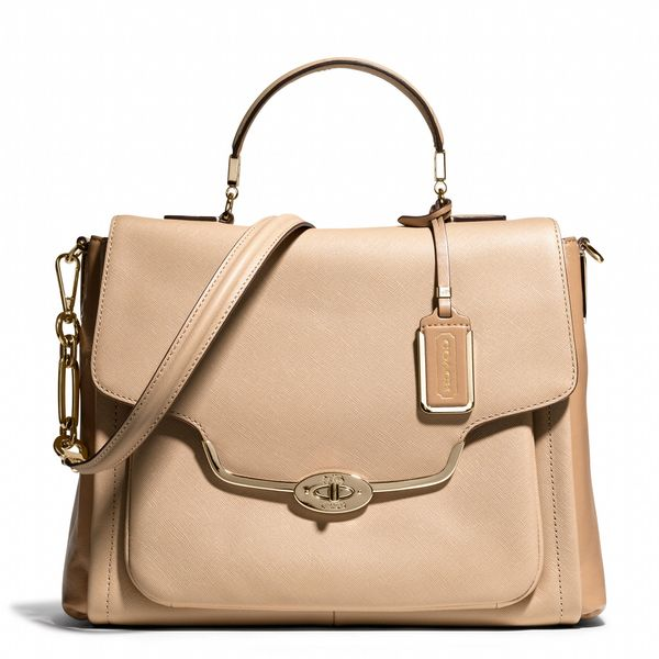 Coach  Madison Sadie Flap Satchel in Spectator Saffiano Leather