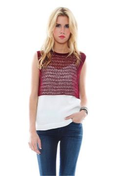 Elizabeth and James Elizabeth and James Pointelle Micro Cropped Tank