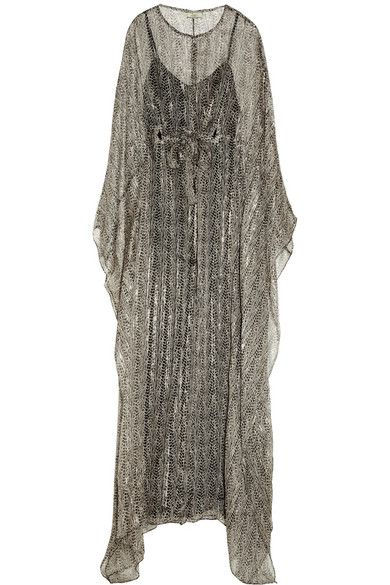 Issa Issa Metallic Printed Silk-Blend Chiffon Gown