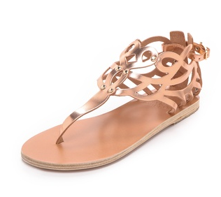 Ancient Greek Sandals  Medea Metallic Flat Sandals