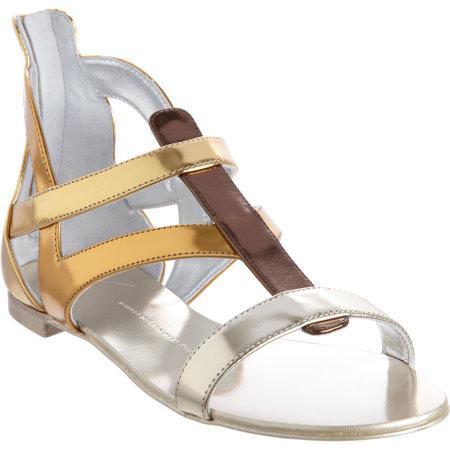 Giuseppe Zanotti  Metallic Flat Gladiator Sandals