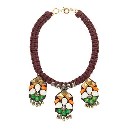 J.Crew  Studs and Stones Embroidered Necklace