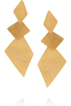Herve Van der Straeten  Hammered Gold-Plated Clip Earrings