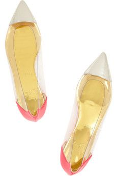 Christian Louboutin  Corbeau Ayers, Leather and PVC Flats