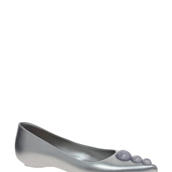 Karl Lagerfeld for Melissa  Silver Metallic Glam Flat Shoes