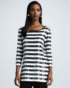 Joan Vass  Striped Sequined Tunic