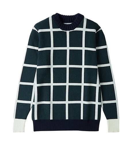 JW Anderson  Checked Grid Ribbed Neck Sweater