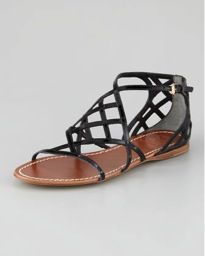 Tory Burch  Amalie Patent Flat Cage Sandals