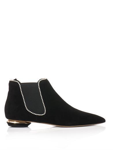 Nicholas Kirkwood  Pearl-Trimmed Suede Chelsea Boot