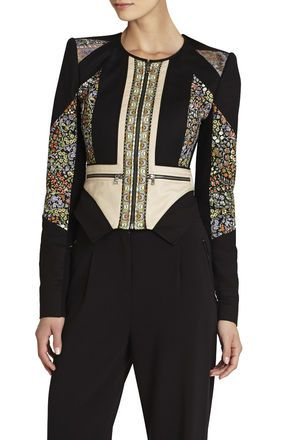 BCBGMaxazria   Neil Print-Blocked Moto Jacket