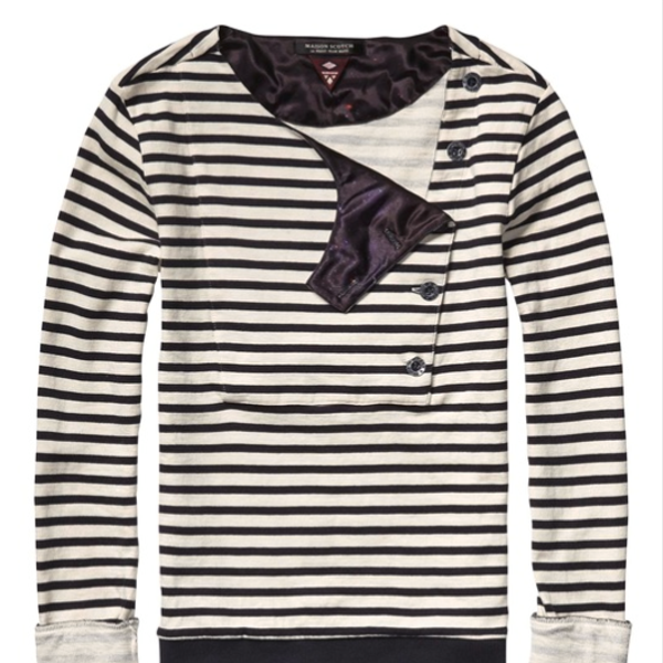 Maison Scotch  Sweat Top with Sailor Inspired Closure