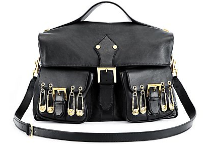 Versus  Large Leather Bag with Safety Pins