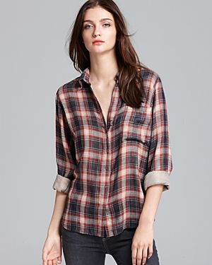 LA't by L'Agence  Long Sleeve Plaid One Pocket Blouse