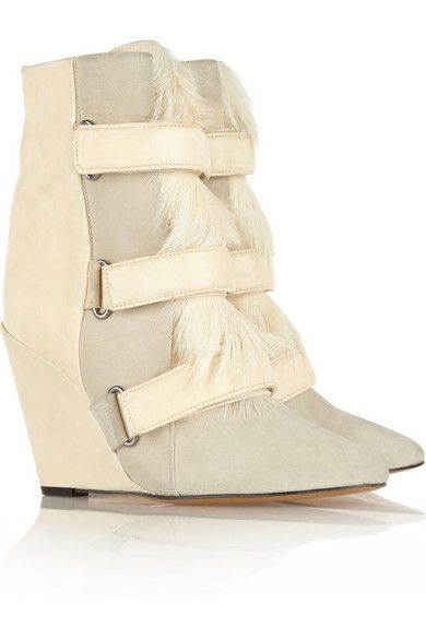 Isabel Marant  Pierce Suede, Leather, and Calf Hair Wedge Boots