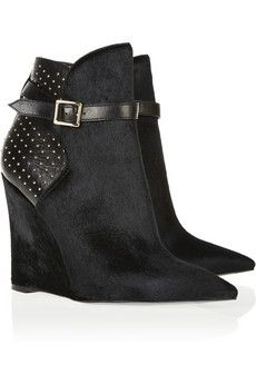 Burberry Prorsum  Woodley Studded Leather and Calf Hair Wedge Ankle Boots