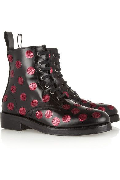 Markus Lupfer  Sequined Polka-Dot Leather Boots