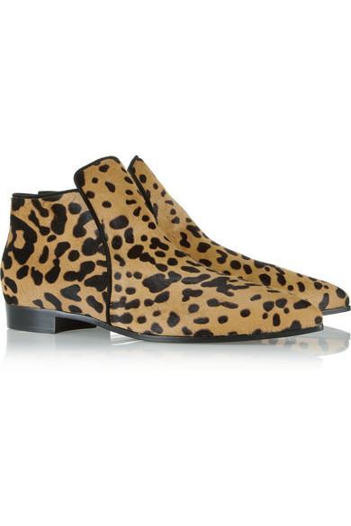 Miu Miu  Leopard-Print Calf Hair Ankle Boots