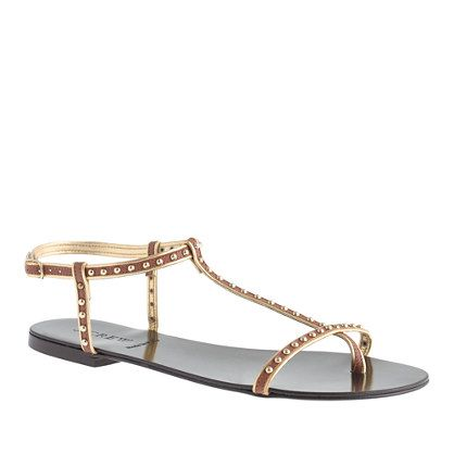 J.Crew  Cyrille Studded T-Strap Sandals