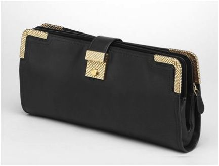 Bottega Veneta Bottega Veneta Nero Waxed Leather Gold Metal Clutch