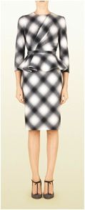 Gucci  Gucci Check Flannel Dress with Flounce Detail