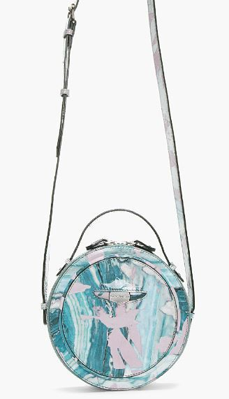 Carven  Patent Leather Marbled Round Shoulder Bag