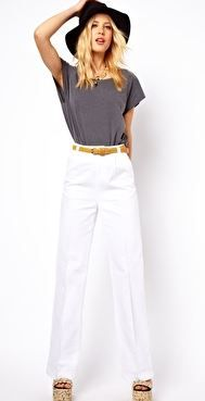 ASOS  White High Waist Wide Leg Pants