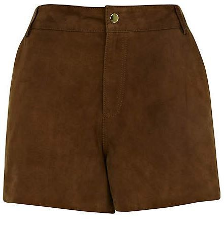 River Island  Brown Suede City Shorts
