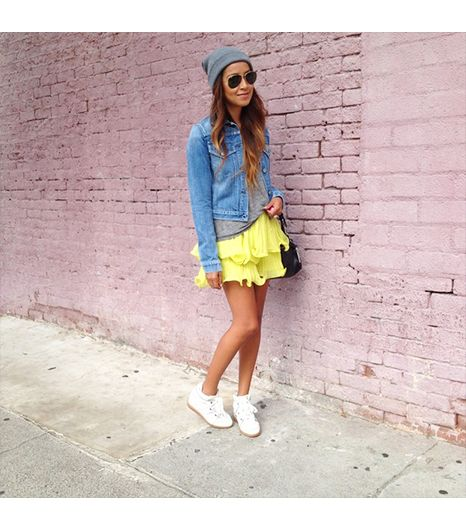 Sincerelyjules is wearing: Citizens of Humanity jacket, Zara shirt, BCBG Max Azria skirt, Isabel Marant sneakers, ASOS hat.