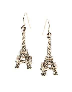 ASOS Engraved Metal Eiffel Tower Drop Earrings