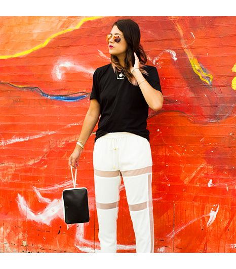 Jenagambaccini is wearing: Celine bag, Cameo pants, LPD New York shirt, Olive Peoples sunglasses.
