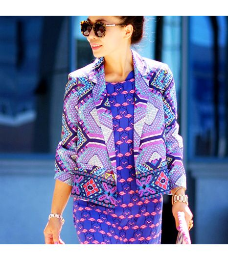 Halliedaily is wearing: Karen Walker sunglasses, Harlyn dress, Aryn K blazer.