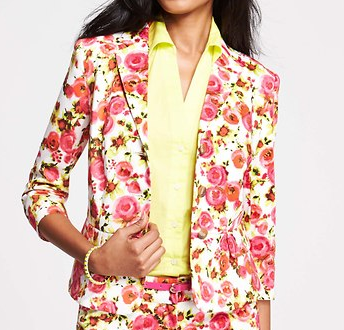 Ann Taylor Pastel Blooms Print Stretch Cotton Jacket