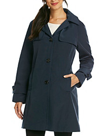 Calvin Klein Single Breasted Button Front A-Line Raincoat