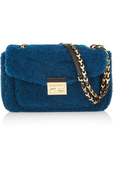 Fendi  Shearling B Baguette Mini Shearling Bag