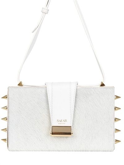Salar  Lou Spikes Studded Ponyskin Box Bag