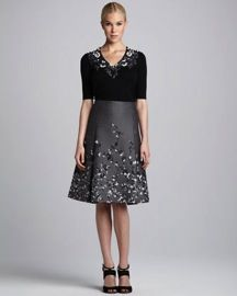 Carolina Herrera  Floral-Embroidered Jacquard Skirt