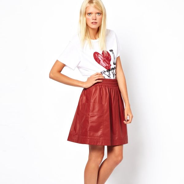 Sonia by Sonia Rykiel  Lambs Leather Full Skirt