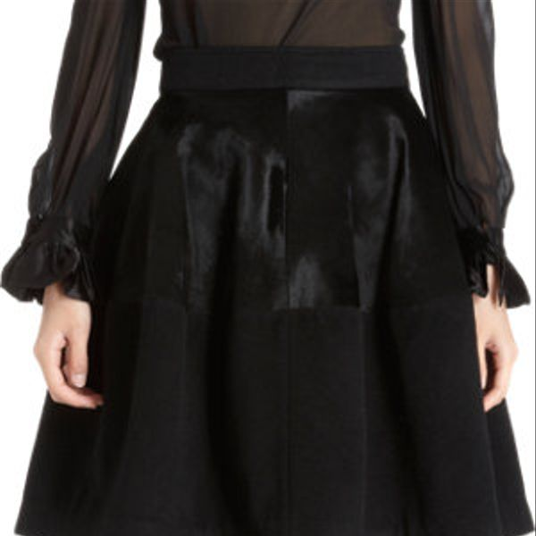 Co  Calf Hair Panel Flare Skirt