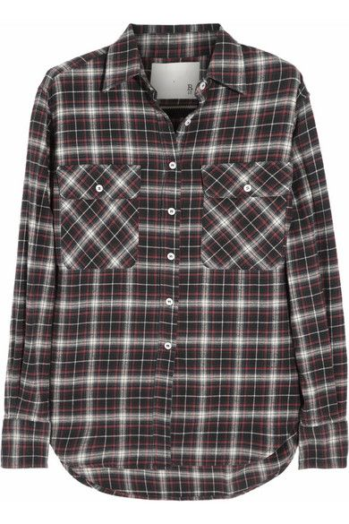 R13  Zipped-Back Plaid Stretch-Cotton Shirt