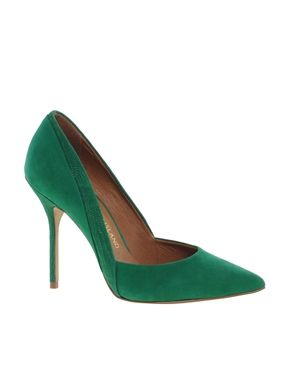 River Island  Green Odette Pointed Court Shoes