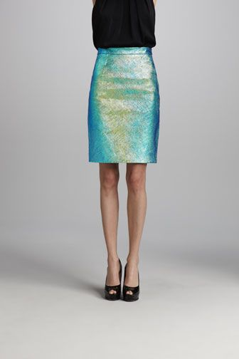 Milly  Edith Holographic Reptile Effect Leather Skirt