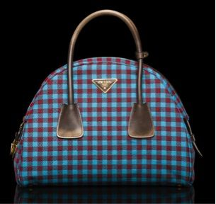 Prada  Prada Jacquard Vichy Bag with Wool Straps