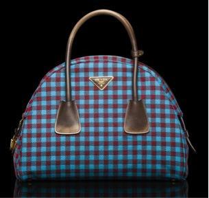 Prada  Prada Jacquard Vichy Bag with Wool Straps