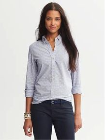 Banana Republic Banana Republic Soft-Wash Dot Chambray Button-Down Shirt