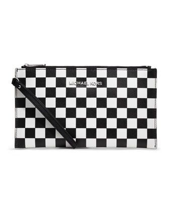 MICHAEL Michael Kors  MICHAEL Michael Kors Large Jet Set Checkerboard-Print Travel Clutch