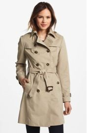 London Fog  Quilted Flap Double Breasted Trench Coat